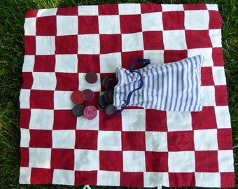 Red patterned and white cotton patchwork checkerboard