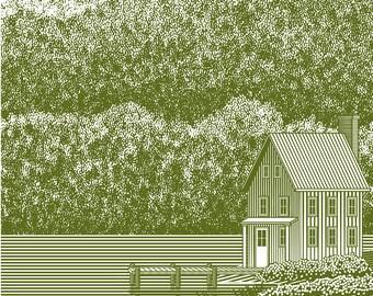 Woodcut Lake House – Digital Download