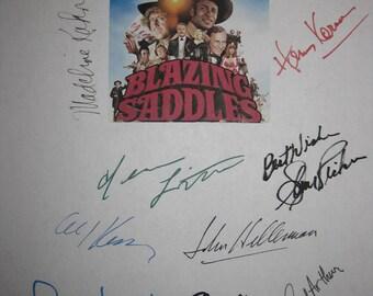 Blazing Saddles Signed Movie Film Script Screenplay X14 Mel Brooks Gene Wilder Madeline Kahn Slim Pickens Cleavon Little Alex Karras autogra