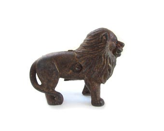 Vintage Cast Iron Ears Up Lion Still Penny Bank by A. C. Williams