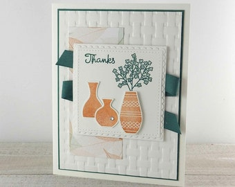 Handmade Thank You Card - StampinUp Varied Vases - Friendship Thank You - A Special Thanks - Gratitude Card - Appreciation - Floral Thanks