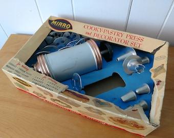 vintage Mirro cookie and pastry press decorator set