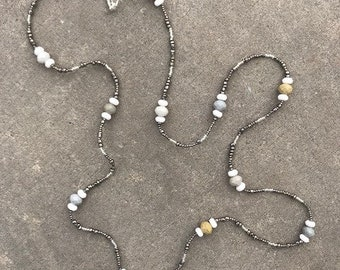 Grey, Green and White Multi-Strand Necklace