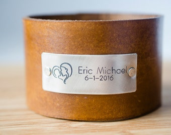 Child's Name Birth Announcement with Custom Date on Wide Distressed Leather Cuff