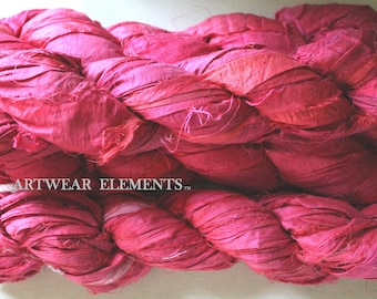 Pure Sari Silk, Neon Orange Pinky 2, Fair Trade, 100g, Silk Ribbon, Textile, Yarn, Crochet Yarn, Bracelet Ribbon, Artwear Elements, #97d