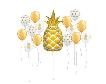 "Pineapple Balloon Kit, 44"" Gold Pineapple Party Balloon, Tropical Decor, Summer Party Decor, Pool Party Supplies, Tropical Balloon Decor"