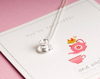 Teacup Necklace, Silver Teacup Necklace, Cup and Saucer Necklace, Valentines Gift For Her, Tea Jewellery, Tea Necklace, Tea Lovers Gift, Tea