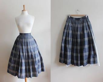 Vintage 1980s does 1950s Blue Plaid Full Skirt