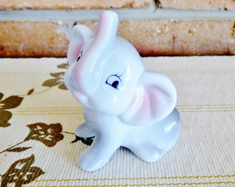 Exclusive Collection vintage 1960s kitsch porcelain elephant figurine, raised trunk, collectable