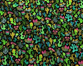 Succulents Fabric - Cactus 1 By Jadegordon - Succulents Southwest Cactus Bright Lime Green Pink Cotton Fabric By The Yard With Spoonflower