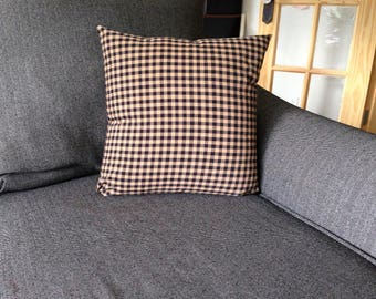 Primitive country pillow slipcovers, country decor, black and beige print pillow covers, primitive design pillow covers, plaid print