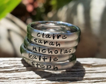 Custom Handstamped Name Rings, Personalized Stacking Ring, Mom Jewelry, Name Ring for Mom, Handstamped Initial Ring