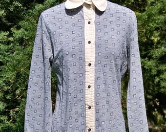 Vintage 1970s White Peter Pan Collar Blue Jersey Shirt Retro Blouse