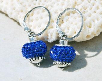 Sapphire blue crystal pave earrings, sterling and blue crystal earrings, blue crystal lever back earrings, september birthstone earrings