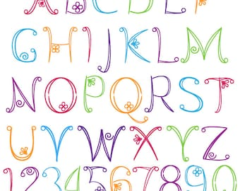 Doodle Alphabet, Hand Drawn Font, Uppercase and Numbers - Commercial and Personal Use