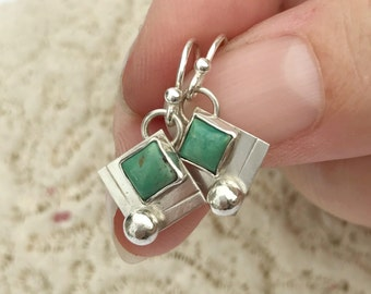 Square Turquoise Earrings, Handcrafted Silversmith, Small Everyday Casual Boho Chic Bohemian Minimalist Dangles