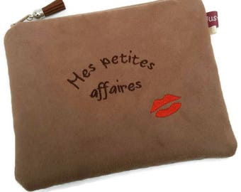 Small customizable makeup clutch embroidered, mother's day, make-up pouch, personalized mouth, make up bag, gift