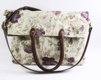 SALE-2 way Tote bag-Cross Body Bag - Fall Messenger Bag - diaper bag-handbag -letachable strap-leather handle