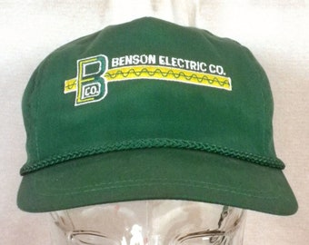 vtg 80s Benson Electric Co Green Strapback Trucker Hat Cap