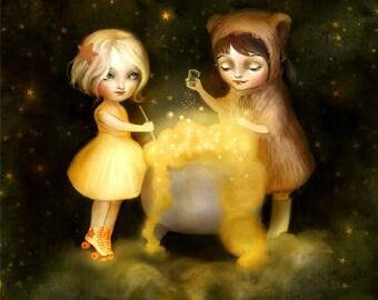 Brewing Stars  | 8X10 Print | baby bear art, bear hat print, bear and children, little bear | by Meluseena