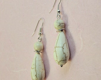 White turquoise earrings veined and metal