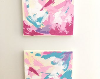 "Pair of Small Original Abstract Impasto Paintings on Canvas, Turquoise, Pink, Purple, White, Glitter, 12"" x 12"""