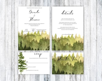 Pine tree invitation etsy forest wedding invitation rustic watercolor tree invite wedding invitation template outdoor wedding stopboris Choice Image