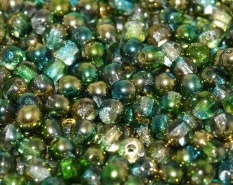 NEW Czech Glass Crystal Sunny Magic Summer Green Round Beads 6mm 25pcs