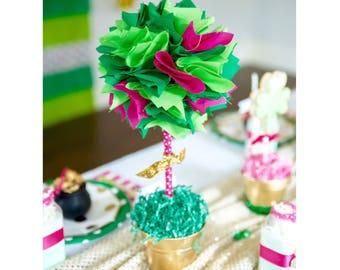 CENTERPIECE in pink & green / Baby shower centerpiece / Quinceanera centerpiece / Watermelon birthday / Strawberry shortcake / Centerpieces