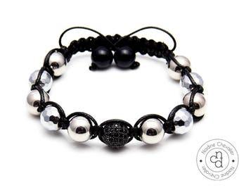 Shamballa bracelet handmade 10mm Hematite, Jade, Zircon and Stainless steel 304