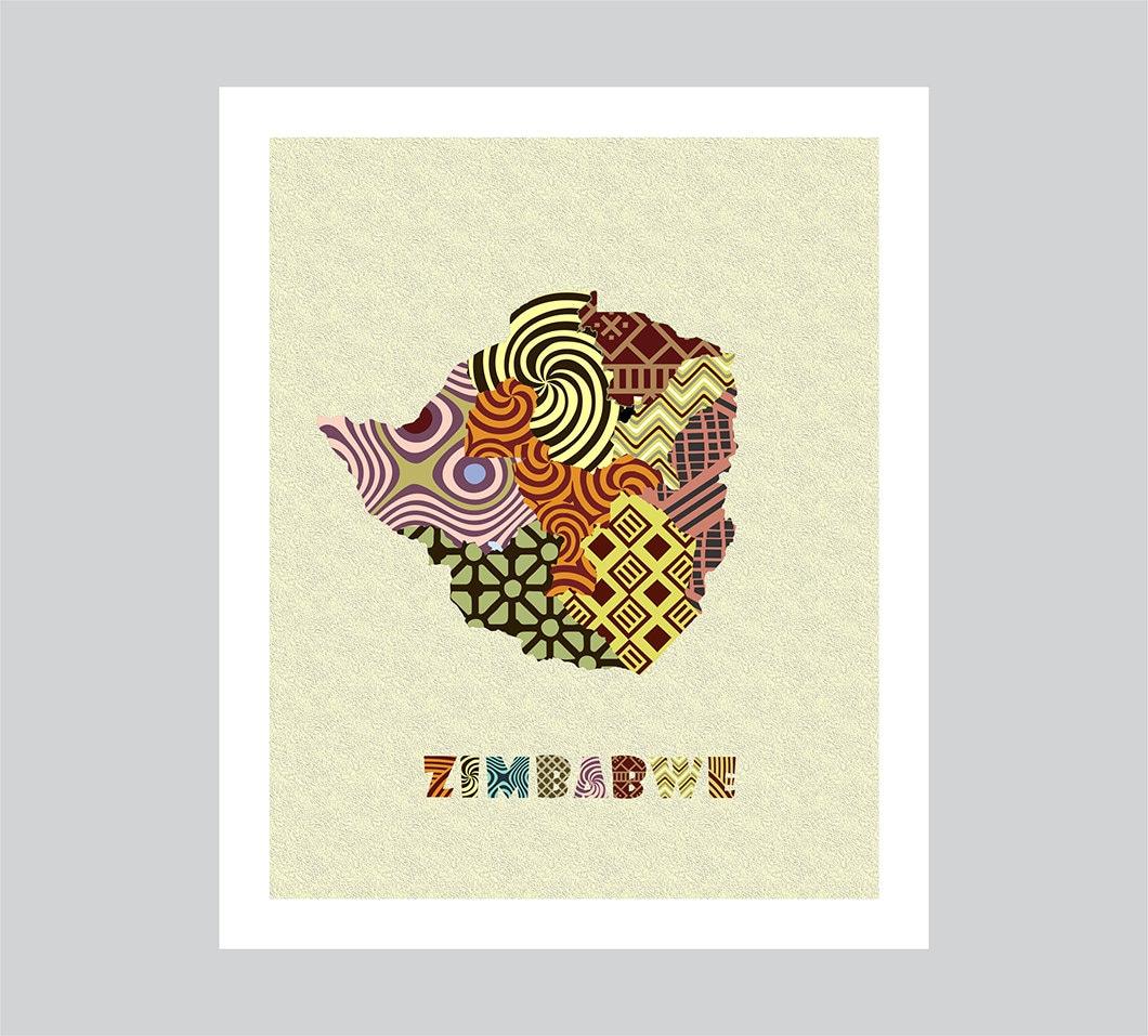 Zimbabwe Map Art Print Zimbabwe Wall Art Decor Zimbabwe Poster
