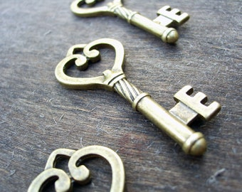 Skeleton Key Steampunk Key Steampunk Skeleton Key Pendant Skeleton Key Charm Heart Key Antiqued Bronze Skeleton Key Victorian Key 45mm/1.8""