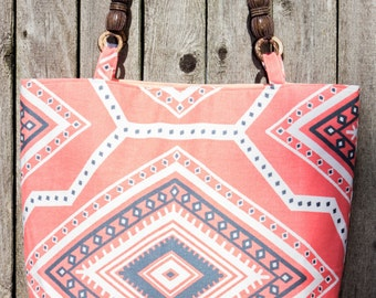 Tribal Print Tote Bag, Hand Bag, Beach Bag, Summer Bag, Summer Tote, Gift For Her, Sale