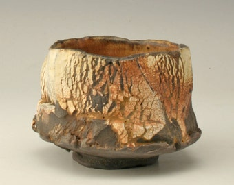 rust and yellow tea bowl, organic pottery cup, chawan with cracks, rustic japanese tea bowl, antique yunomi, tea ceremony, Shikha