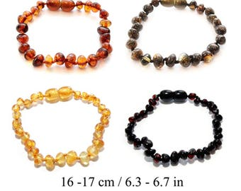 Amber Teething Bracelet Baby Teething Anklet Bracelet for Child Genuine Baltic Amber Beads Authentic 16 - 17 cm/ 6.3 - 6.7 in