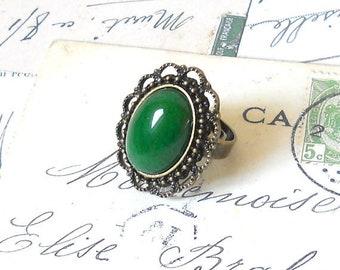 green jade ring boho ring green ring bronze ring jade ring gemstone ring cottage chic jade ring brass ring