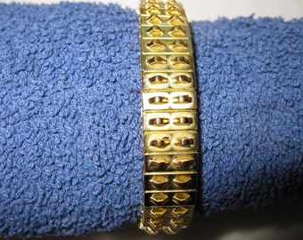 Pkg 3 - 7 Inch Double Row Gold Plated Steel Stretch Cha Cha Bracelet