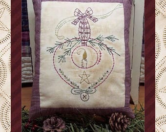 Prim Candle Ornament-Primitive Stitchery  E-PATTERN by Primitive Stitches-Instant Download
