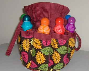 Colorful leaf Bingo Bag.   Great birthday, Christmas or Mother's Day gift!!  Also great craft & make-up organizer