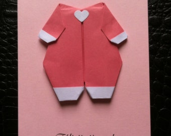 Card origami baby birth