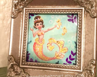 Original Mini Framed Art Mermaid painting by Amanda Christine 3x3 inches Mango Orange Mermaid Mini Mermaid illustration