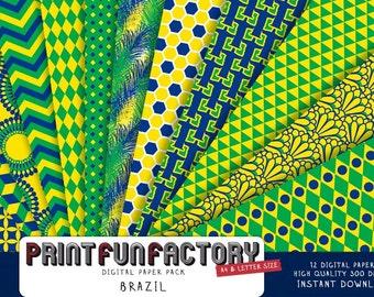 Brazil digital paper - Brasil colors scrapbook background paper - 12 digital papers (#101) INSTANT DOWNLOAD