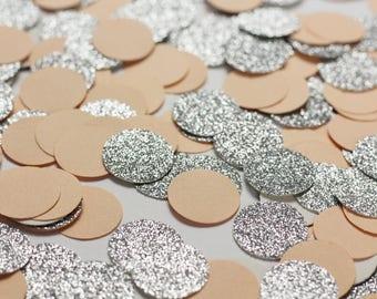 Peach and Silver Glitter Confetti - Glitter Confetti Dots - Peach Circle Confetti - Peach Wedding Table Decorations
