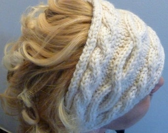 Hand Made, Custom Design, Cabled Ear Warmer, Head Band, Gift For Her,