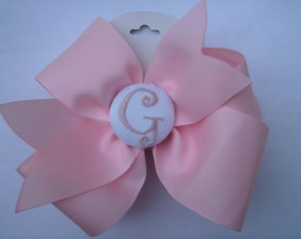 Pink Button Hairbow, Any Initial, Monogram Hair bows, Girls Gift Idea, Custom Boutique, Monogrammed, Embroidered Curlz, Large Big Clip
