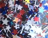 Stars & Stripes - Red White Blue Silver, Glitter Nail Polish, star glitter topper, flag nail polish, July 4th, America, USA