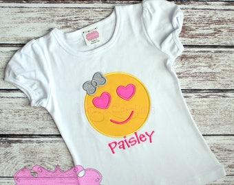 Girls Emoji Shirt, Emoji Applique Shirt, Emoji Shirt, Emoji Birthday Shirt, Emoji Party,  Girl Emoji Shirt, Love Emoji Shirt