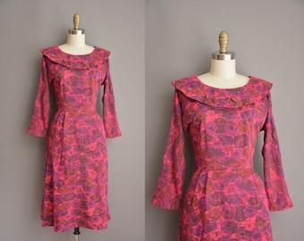 50s Forever Young rose print vintage wiggle dress. vintage 1950s dress