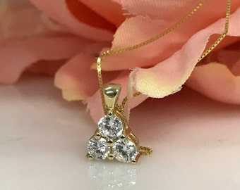 """3 Stone Round Diamonds in a Triangle Style set in 14k Yellow Gold with 18"""" 14K Yellow Gold Box Chain  #5269"""