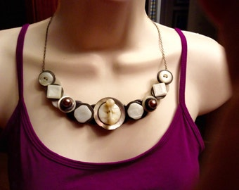 3D Mother of Pearl  button necklace